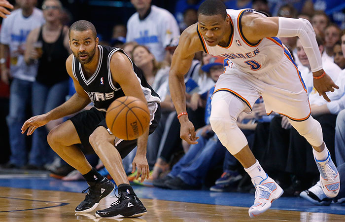 Westbrook, Thunder pounce on Spurs to tie series
