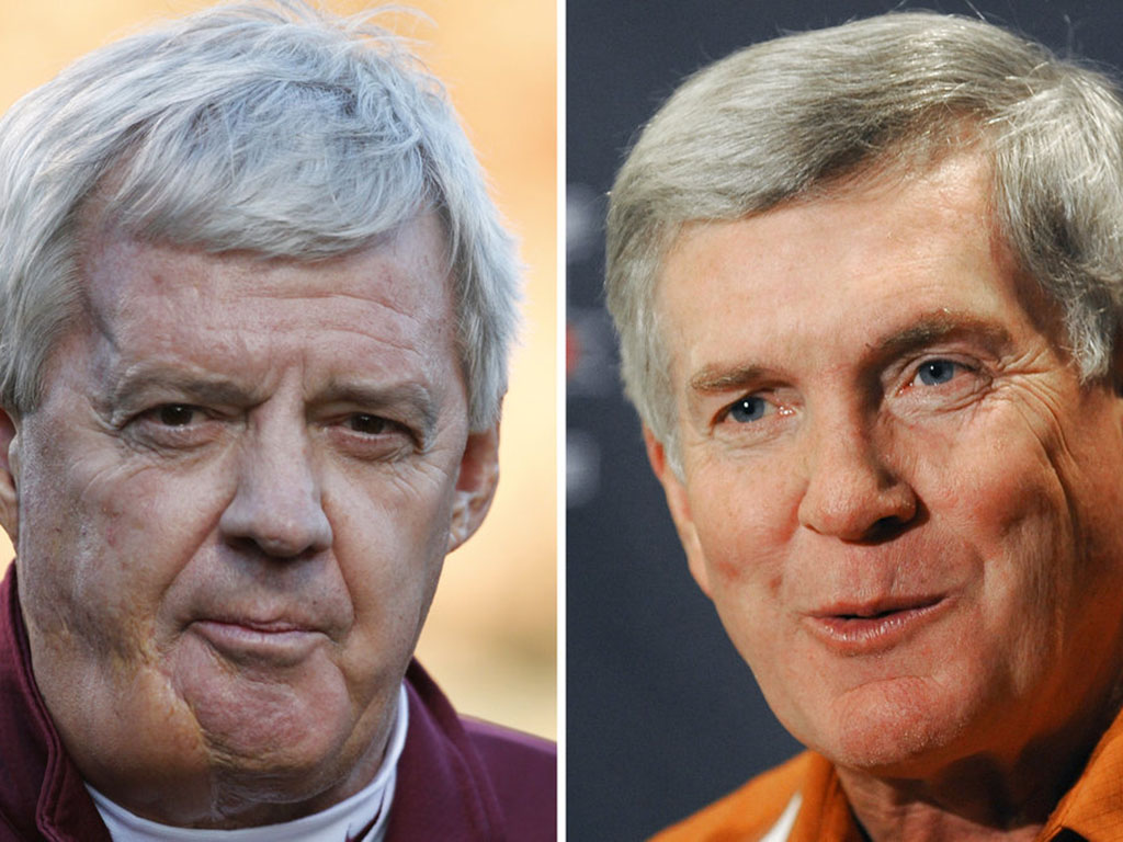 <p>Longtime Virginia Tech coach Frank Beamer, left, and former Texas coach Mack Brown, right, along with former players Charles Woodson, Ed Reed and Calvin Johnson, are among those making their first appearance on the College Football Hall of Fame ballot this year. The ballot released June 1 by the National Football Foundation includes 75 players and six coaches who competed in the Football Bowl Subdivision of the NCAA.  (AP Photo/File)</p>