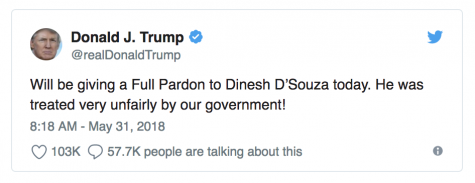 @realdonaldtrump: Will be giving a Full Pardon to Dinesh D'Souza today. He was treated very unfairly by our government!