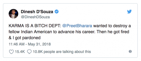 "@DineshDSouza: ""KARMA IS A BITCH DEPT: @PreetBharara wanted to destroy a fellow Indian American to advance his career. Then he got fired & I got pardoned"""