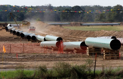 Large sections of pipe are shown in Sumner, Texas, on Oct. 4, 2012. TransCanada Corp. spokesman Davis Sheremata said in an email that the southern leg's construction problems are a separate matter from the construction of the northern leg, which will stretch from Alberta, Canada, to Nebraska's southeast corner. (Tony Gutierrez/Associated Press)
