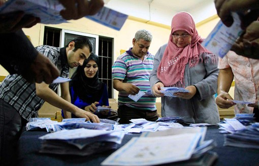 Election workers count votes for Egypt's presidential election on May 28.