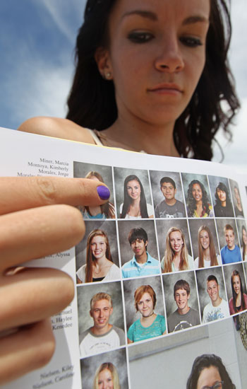 Wasatch High School sophomore Kimberly Montoya shows her altered yearbook photo.