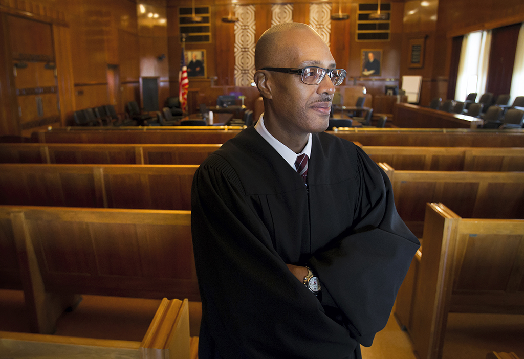 Judge George Hanks, seen in a May 28, 2015 photo, is the new US District Court Judge in Galveston, Texas. He's the first African-American judge to preside over the court and will serve with life tenure. President Barack Obama nominated Hanks in September. Hanks is a Harvard graduate and has been a judge for more than 15 years. (Stuart Villanueva/The Galveston County Daily News)