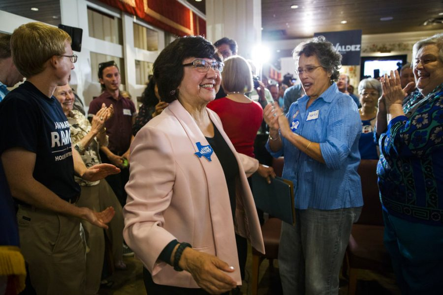 Lupe Valdez being congratulated