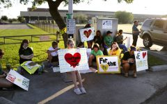 Santa Fe High School supporters gathered outside the school to extend their support