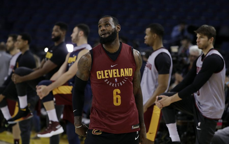 Cleveland+Cavaliers%27+LeBron+James+watches+his+shot+as+his+teammates+stretch+behind+him+during+an+NBA+basketball+practice%2C+Wednesday%2C+May+30%2C+2018%2C+in+Oakland%2C+Calif.+The+Cavaliers+face+the+Golden+State+Warriors+in+Game+1+of+the+NBA+Finals+on+Thursday+in+Oakland.+%28AP+Photo%2FMarcio+Jose+Sanchez%29