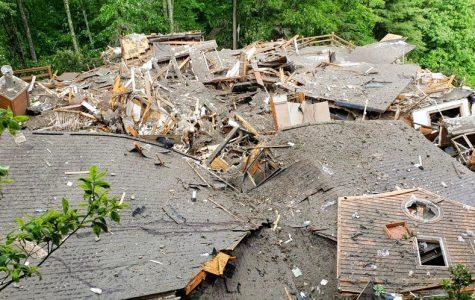 Homes flattened