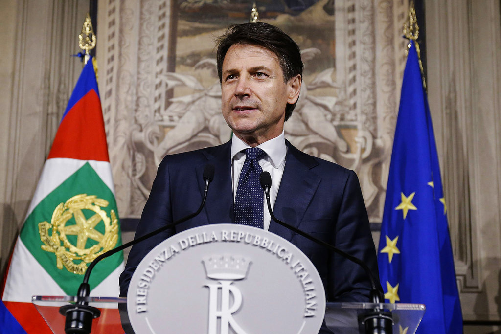 Giuseppe Conte addresses the media at the Quirinale presidential palace in Rome, on May 31, 2018. Italy's president has tapped law professor Giuseppe Conte to be Italy's next premier heading Italy's first populist government.