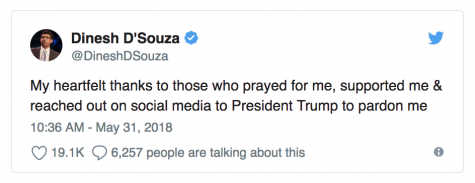"@DineshDSouza: ""My heartfelt thanks to those who prayed for me, supported me & reached out on social media to President Trump to pardon me"""