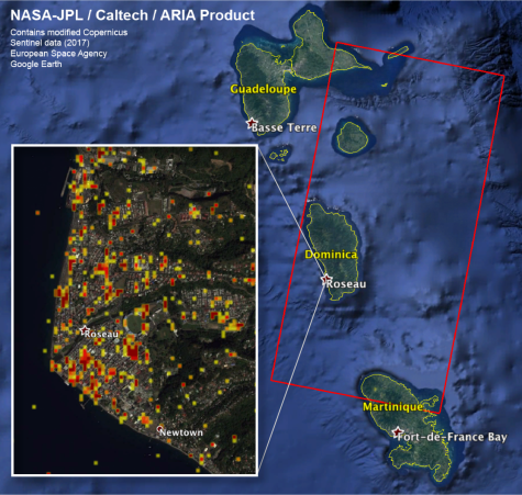 NASA/JPL-Caltech-produced map of damage in and around San Juan, Puerto Rico (orange inset box) from Hurricane Maria, based on ground and building surface changes detected by ESA satellites. Color variations from yellow to red indicate increasingly more significant ground and building surface change.