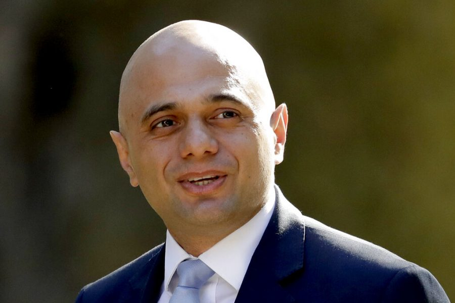 In this May 1 , 2018 file photo, Britain's then-newly appointed Home Secretary Sajid Javid arrives for a cabinet meeting.