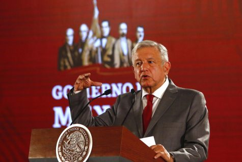 Mexico President Andrés Manuel López Obrador speaks at a podium.