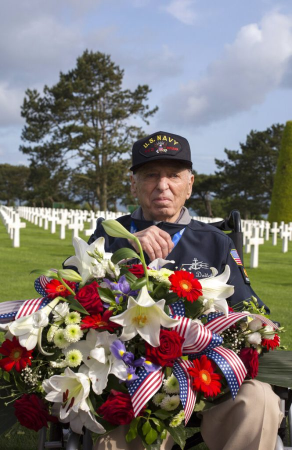 CAPTION CORRECTS SPELLING OF VETERAN'S SURNAME TO DEITCH United States World War II veteran Jerry Deitch, from Nevada, poses at Normandy American Cemetery in Colleville-sur-Mer, Normandy, France, Monday, June 3, 2019. In ever dwindling numbers, and perhaps for the last time, D-Day vets are answering the call to return to Normandy for the 75th anniversary of the June 6, 1944 landings. (AP Photo/Rafael Yaghobzadeh)