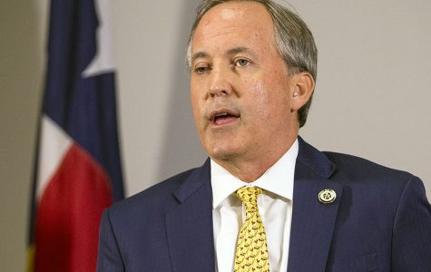 Texas Attorney General Ken Paxton speaks at a news conference