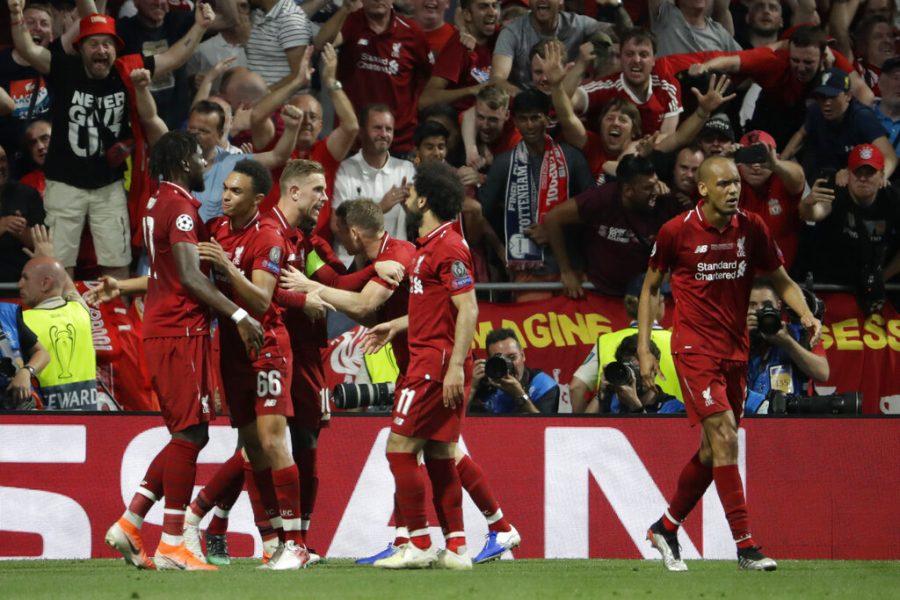 Liverpool's Divock Origi celebrates with his teammates