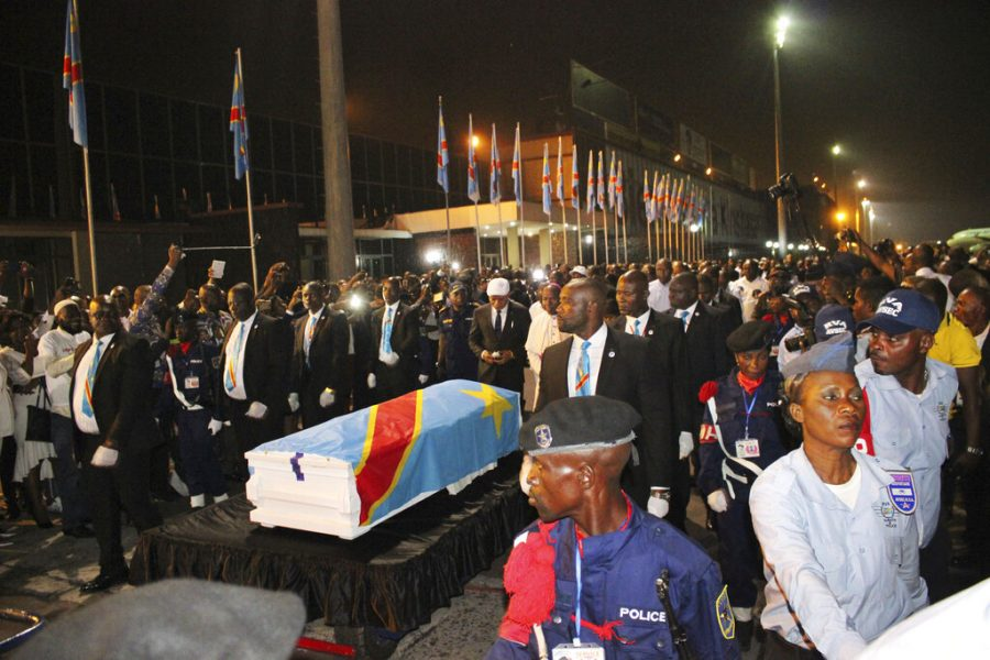 The coffin carrying the remains of longtime Congolese opposition leader Etienne Tshisekedi arrives at Kinshasa airport