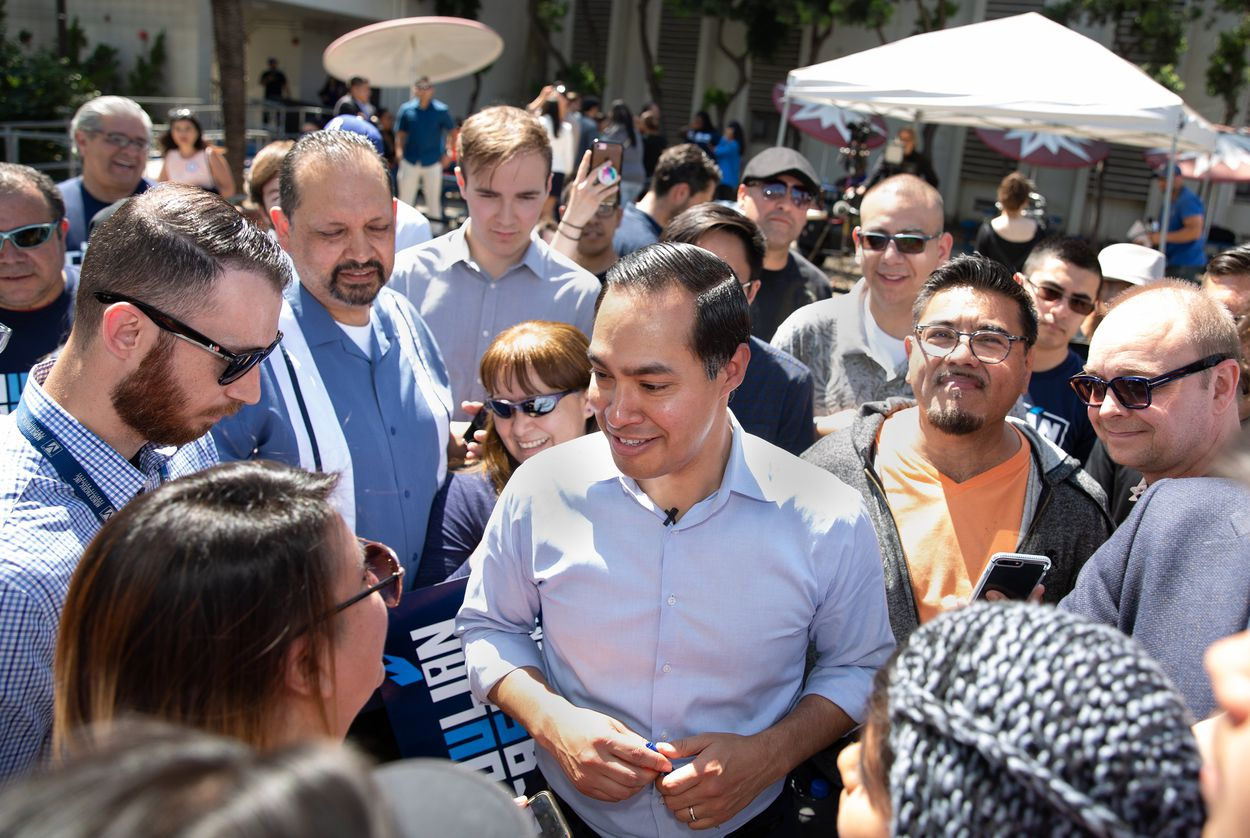 Presidential candidate Julián Castro greets supporters at a rally at James Garfield High School in East Los Angeles on April 6.  Arlene Mejorado for The Texas Tribune