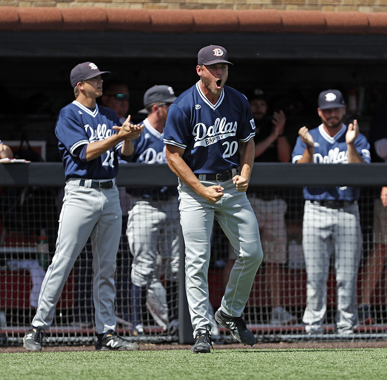 Dallas+Baptist%27s+Ray+Gaither+%2820%29+cheers+for+his+team+after+ending+an+inning+during+an+NCAA+college+baseball+tournament+regional+game+against+Florida%2C+on+June+2%2C+2019%2C+in+Lubbock%2C+Texas.+