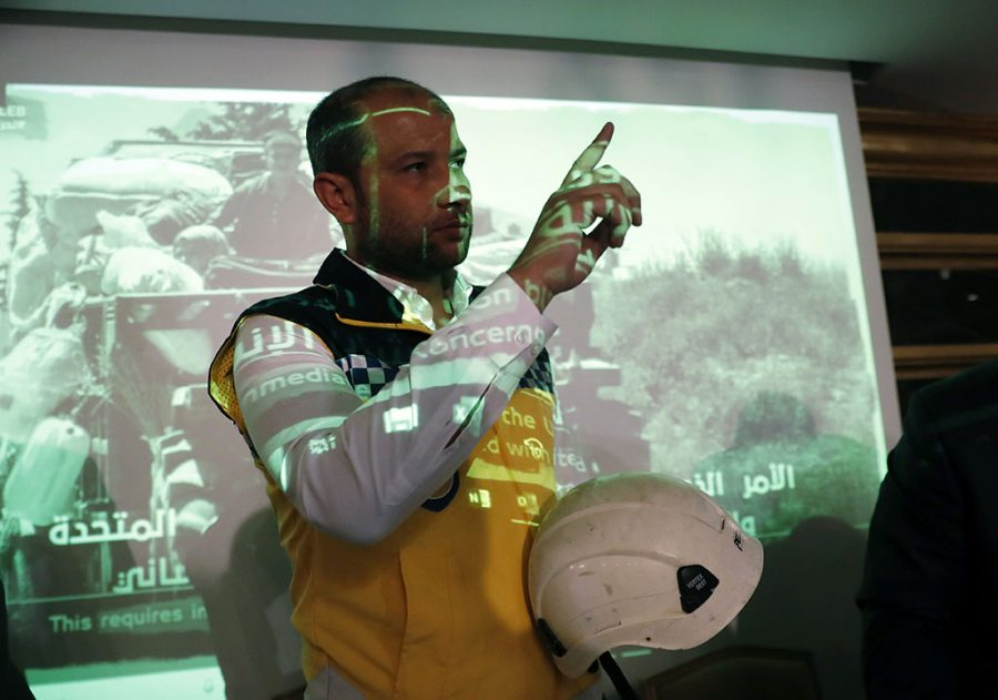 Raed Alsaleh, chairman of the Syrian Civil Defense volunteer rescue group, gestures