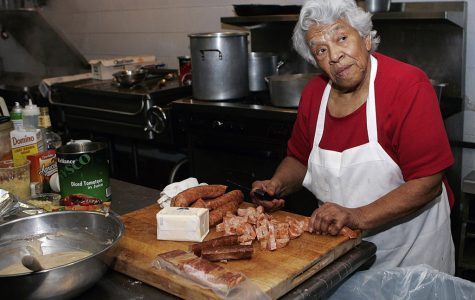 old woman cooking