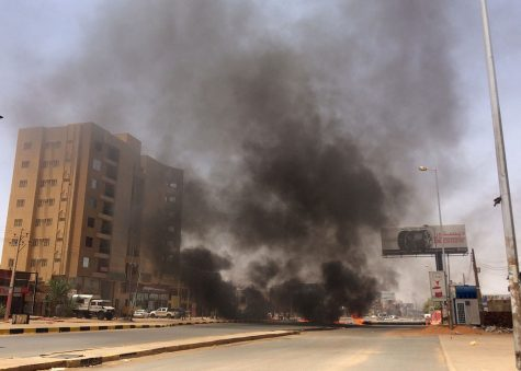 Burning tires in Sudan protest