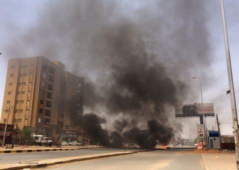Burning tires in Sudan protest