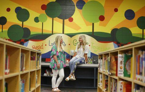 Two teachers in a school library