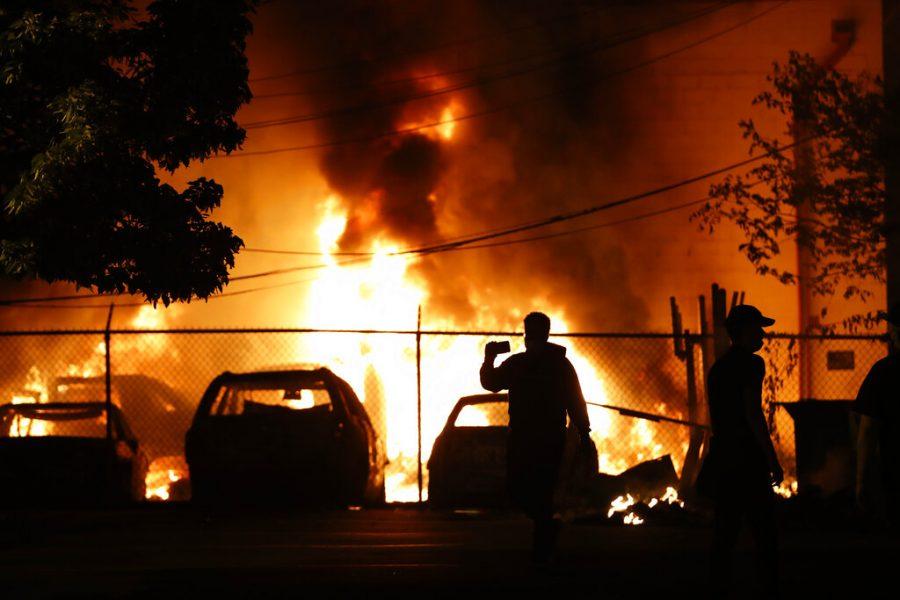 Cars burning in Minneapolis