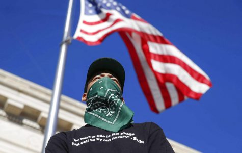 Protestor underneath the American flag.