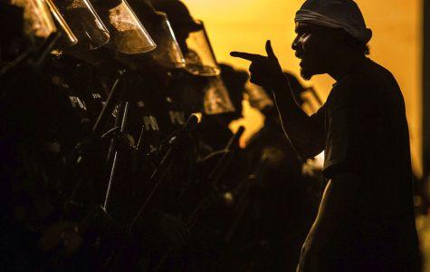 Man confronting law enforcement.