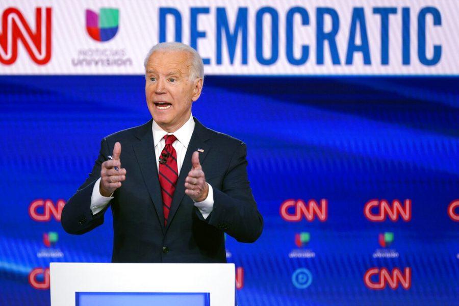 Joe Biden speaks at a presidential debate.