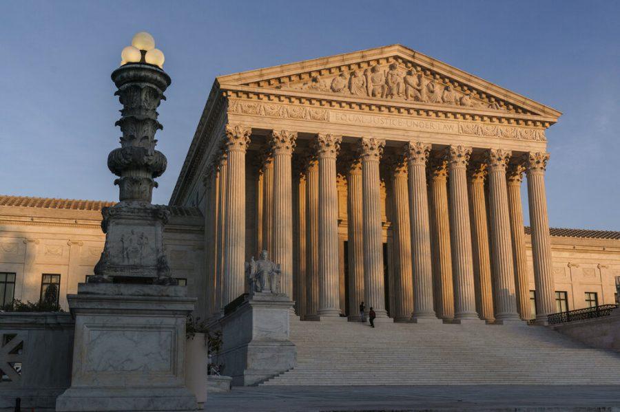The+Supreme+Court+is+seen+as+sundown+in+Washington+on+Nov.+6.