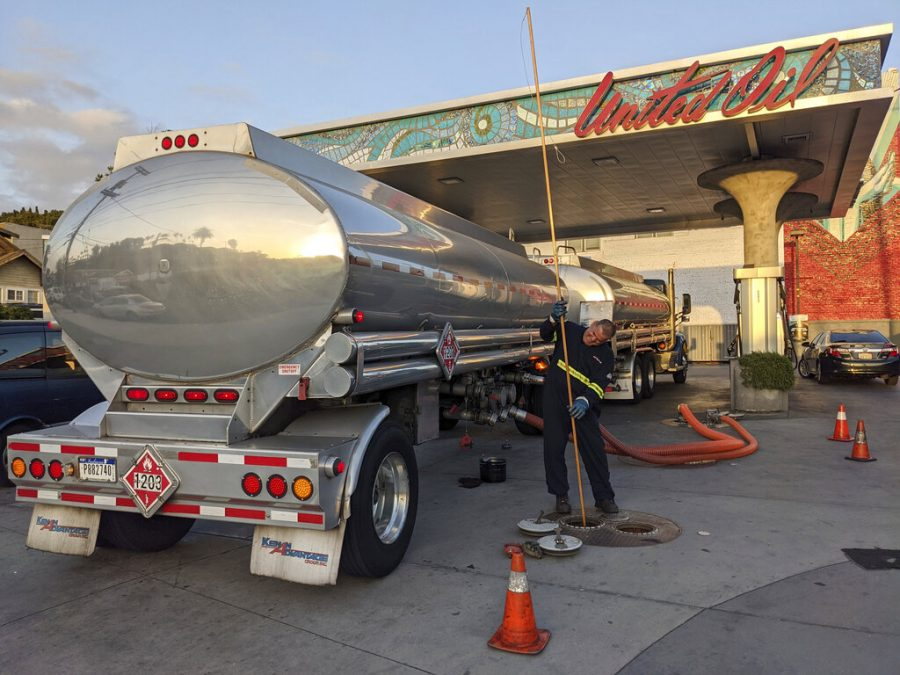 A fuel truck driver checks the gasoline tank level at a United Oil gas station in Sunset Blvd., in Los Angeles on May 20.