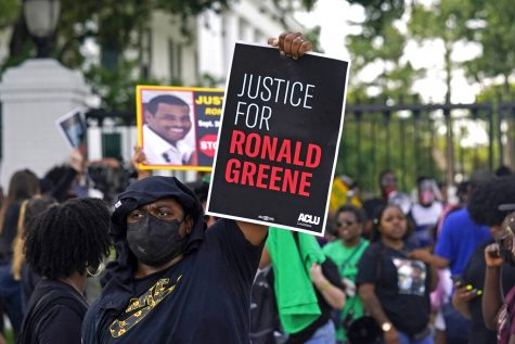 Demonstrators protesting the death of Ronald Greene