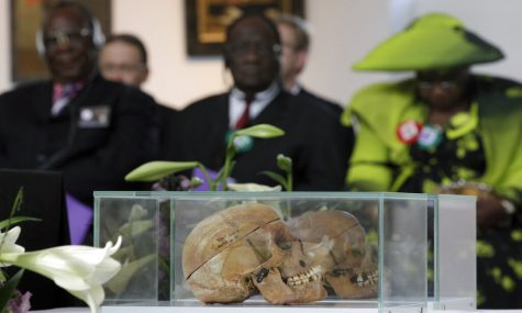 Skulls displayed at a devotion for tribes of Namibia.