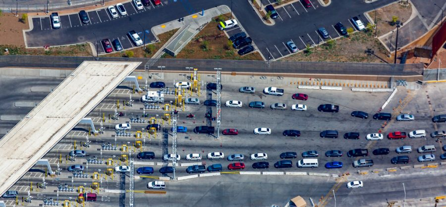 Cars drive into the port of entry from Mexicali, Mexico to Calexico, Calif on April 2, 2019.