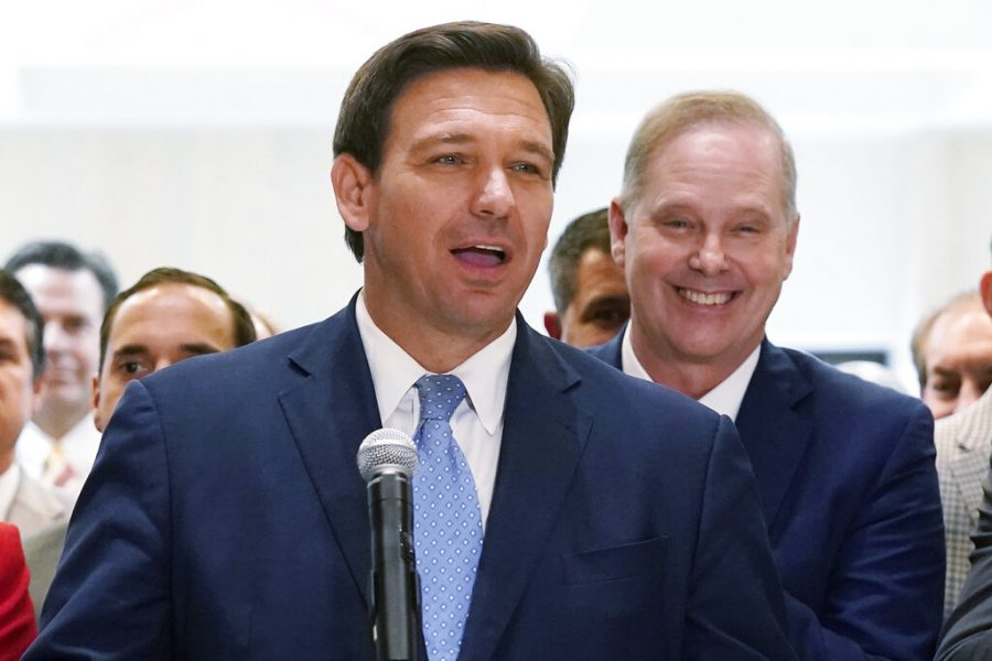 Florida Gov. Ron DeSantis speaks at the end of a legislative session at the Capitol in Tallahassee, Fla, on April 30.