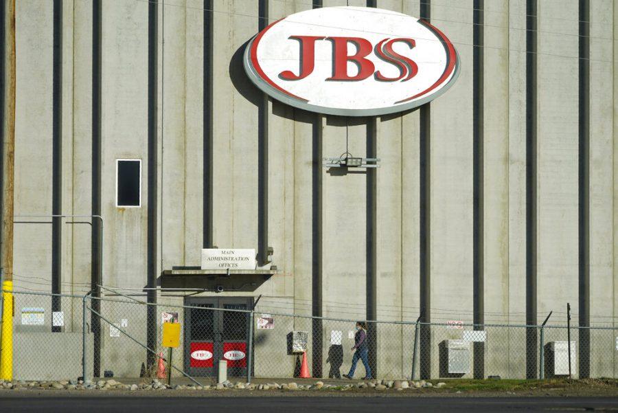 Outside a JBS plant