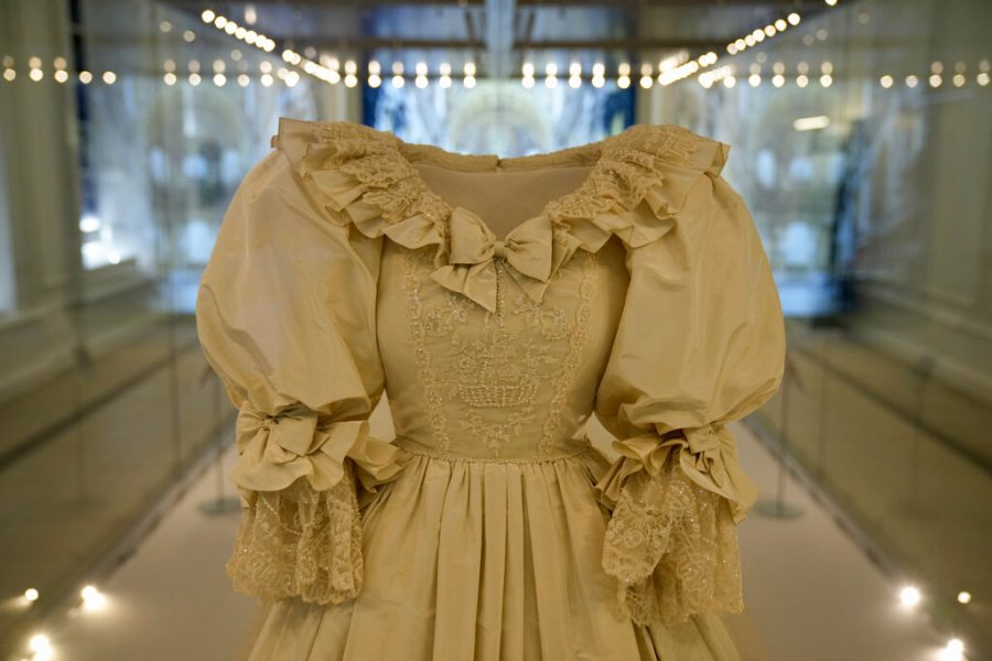 Princess Diana's dress on display in a glass case.