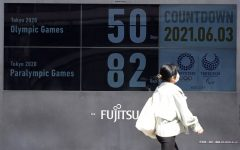 Countdown clock showing 50 days until the Tokyo Olympics.