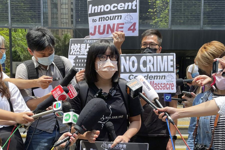 Chow Hang Tung, the vice chair of The Hong Kong Alliance in Support of Patriotic Democratic Movements of China, on May 6, 2021 speaks to media outside a court in Hong Kong.